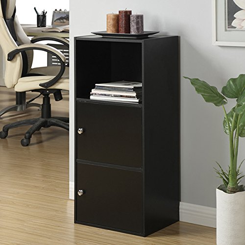 File Cabinet / Storage Cabinet Black Finish Wood Bookshelves / Cabinet (151187) 16.5 x 12 x 35.13. Assembly Required (Bookshelves Cabinets)