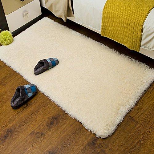 Best Bid Offer Modern Super Soft and Thicken Fur Shag Solid Color Area Rugs, Living Room Bedroom Carpets doormat (50*80cm, cream color)