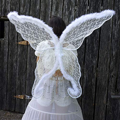 Zucker Feather Feather White Angel Adult Costume-Large Fairy or Butterfly Lace & Feather Wings, Sexy Halloween or Cosplay Accessories, for Photo Props or Party, 40 x 30 inches (101.6 x 76.2 cm),