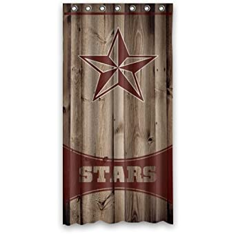 New Top Wood Background Red Western Texas Star Bathroom Shower Curtains Polyester Waterproof 36 Wide X