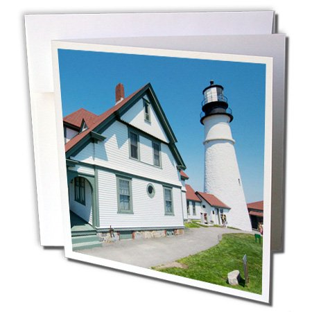 3dRose Danita Delimont - Maine - Portland, Maine, Portland Head Light, lighthouse on cliff - 12 Greeting Cards with envelopes (Iconic Two Light)