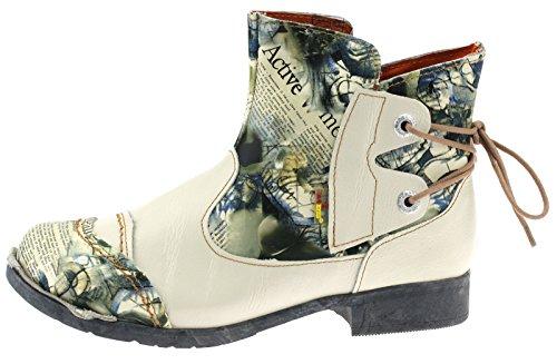 TMA Damen Stiefeletten Boots Echtleder Damenstiefel 5116 Weiß/Beige