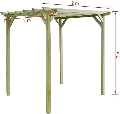 vidaXL Pérgola de Jardín de Madera de Pino Impregnada 2x2x2 m Cenador de Patio: Amazon.es: Jardín