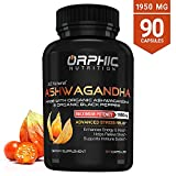 Max Potency 100% Organic Ashwagandha Capsules with Black Pepper 1950 mg | Anti-Anxiety Supplements for Stress Relief, Mood Boost & More Energy | Non-GMO & Gluten-Free | Orphic Nutrition 90 Capsules