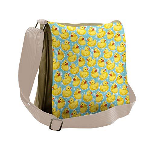 Lunarable Duckies Messenger Bag, Sketch Rubber Ducks Bubbles, Unisex Cross-body ()