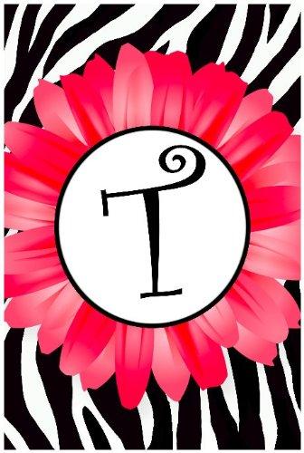 Pink Daisy, Zebra Stripe Monogram T Appliqued Double-Sided Garden Flag 12