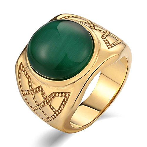 - Aooaz Stainless Steel Ring for Men Matte-Finish Lotus Pattern Wedding Ring Signet Rings Gold US Size 11