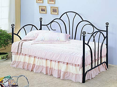 (Vine Twin High Back Daybed with Filligree Knobs Black)