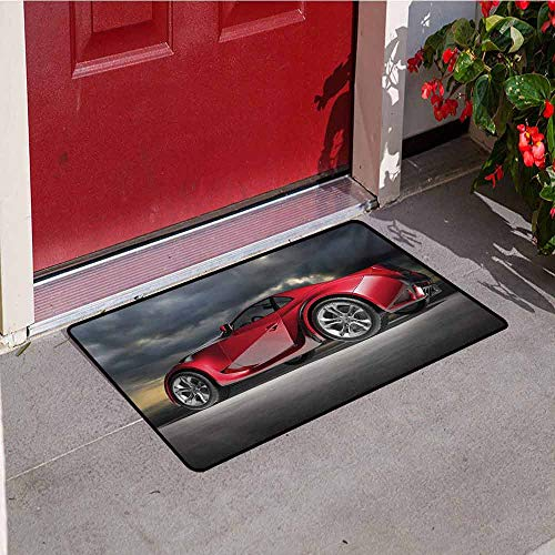 Jinguizi Cars Universal Door mat Modern Red Sports Car on Dramatic Sky Backdrop with Dark Cloudscape Strong Engine Door mat Floor Decoration W23.6 x L35.4 Inch Red Grey ()