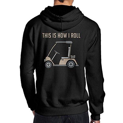 This Is How I Roll Golf Cart Funny Golfers Men's Hoodie Sweatshirt Back Print ()