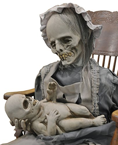 Life Size Deluxe Animated Sound-LULLABY ZOMBIE MOTHER BABY-Halloween Horror Prop -