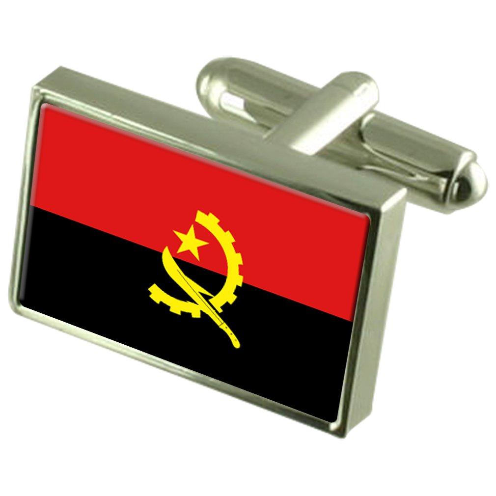Angola Flag Cufflinks Personalised Engraved Keepsake Box