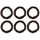 Juvale Grapevine Wreath - 6-Piece Twigs Vine Wreath Craft Sets – Natural Dried Wood Branch Wreath Base Front Door Decoration - 7 inches Diameter