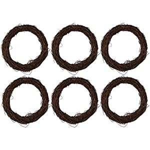 Juvale Grapevine Wreath - 6-Piece Twigs Vine Wreath Craft Sets - Natural Dried Wood Branch Wreath Base Front Door Decoration - 7 inches Diameter 120