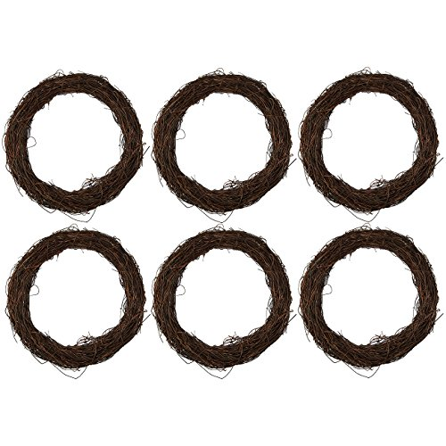 (Juvale Grapevine Wreath - 6-Piece Twigs Vine Wreath Craft Sets - Natural Dried Wood Branch Wreath Base Front Door Decoration - 7 inches Diameter )
