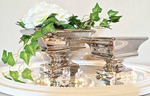 Keramik Dekoschale Schale Tisch Deko Hochglanz Keramikschale Silber Shabby Chic (2er-Set (1 x Klein + 1 x Groß))