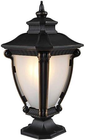 LMDH Rústico Poste de luz Muelle Montaje Montaje Cristal Negro para Cubierta Exterior Jardín Patio Porche Calzada: Amazon.es: Hogar