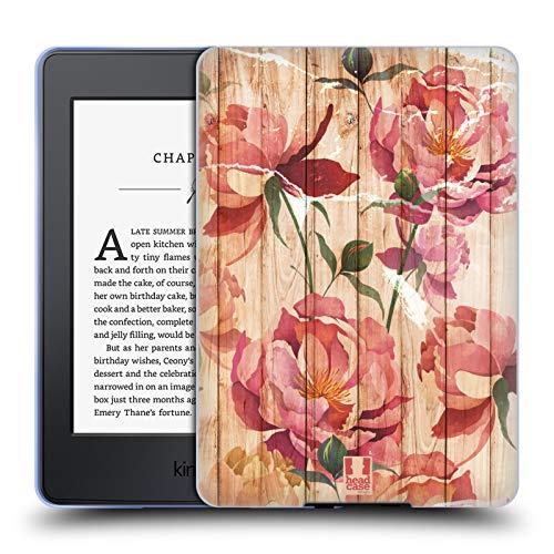 (Head Case Designs Peonies Mix Wood Prints Soft Gel Case for Amazon Kindle Paperwhite 3)