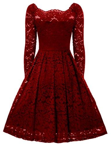 vestido gigileer hombro larga Rojo la de de de una Off de cóctel de línea fiesta elegante encaje mujer manga Floral aYx6ar