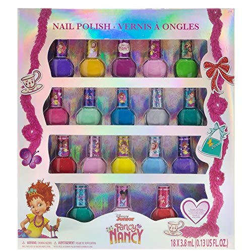 Fancy Nancy Kids Washable Super Sparkly Peel-Off Nail Polish Deluxe Set for Girls, 18Piece, Colors Include: Pink, Yellow, Red, Blue, Green & -