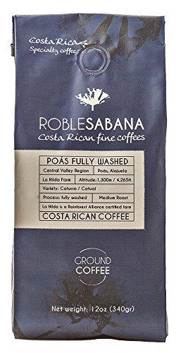 Specialty Coffee Roblesabana Costa Rica Single Origin Poas Fully Washed Medium to Dark Roast (12oz (Fully Ground)