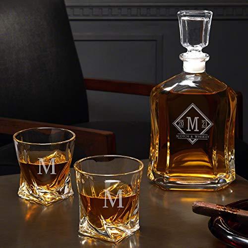 Drake Personalized Whiskey Decanter Set with Twist Glasses (Custom ()