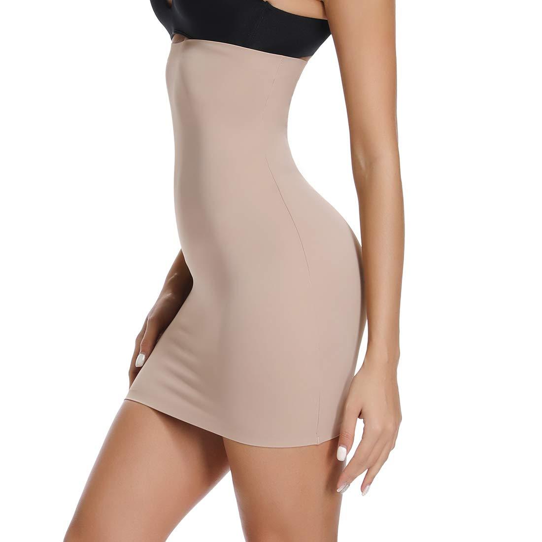 Half Slips for Women Under Dress High Waist Tummy Control Top Shapewear Slimming Butt Lifter