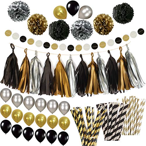 Black Gold Silver Party Decorations Huge Pack Of 115 Paper