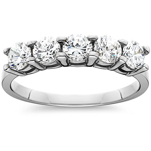 Diamond Anniversary Ring (1ct Five Stone Genuine Round Diamond Wedding Anniversary Ring 14K White Gold)