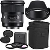Sigma 24mm f/1.4 DG HSM Art Lens for Nikon F with AOM Starter Kit, Sigma Case, Hood, Ultraviolet Filter (UV) Polarizing Filter (CPL) Fluorescent Daylight Filter (FL-D) - International Version