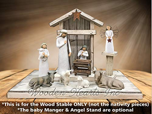 - STABLE for NATIVITY *Distressed REAL Wood Stables *Manger & Angel Stand (optional) *Creche fits many nativity sets (not included) *Green Burgundy Antique White *No Assembly *Handmade in USA **SALE**
