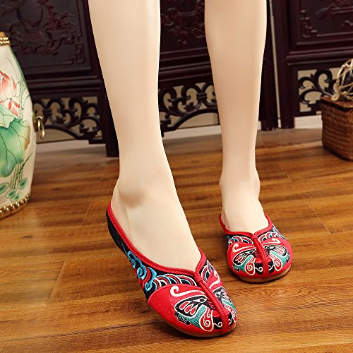 Red Casual Shoes Soft Mask Slippers Women Beijng Embroidery Fanwer Opera Shoes XqRxwHvca7