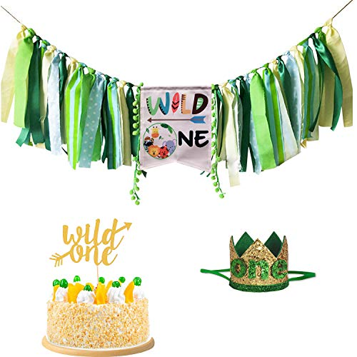 Wild One Birthday Decorations Set, Wild One Highchair Banner, Wild One Glitter Gold Cake Topper with Green One Crown for Baby Girl Boy First Birthday Party Decorations. Safari Jungle Animal Theme 1st Birthday Party Highchair Decorations. ()