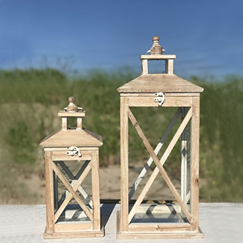 The Cape Cod Farmhouse Candle Lanterns, Set of 2, White Washed Wood, Top Opening, Cross Posts, Glass Panels, Galvanized Floor, 13 and 19 3/4 Inches Tall, By Whole House Worlds by Whole House Worlds (Image #2)