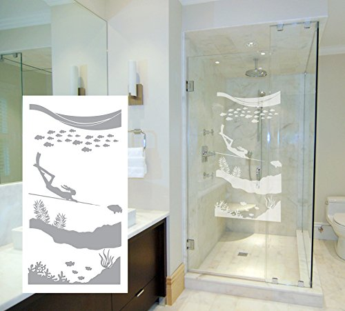 Paradise Etched Glass (Spearfishing Paradise - Coastal Design Series - Etched Decal - For Shower Doors, Glass Doors and Windows - 6