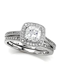 Zoe R (tm) 925 Sterling Silver Micro Pave Hand Set Cubic Zirconia (CZ) Halo Cushion Cut Center Wedding Set Size 6.5