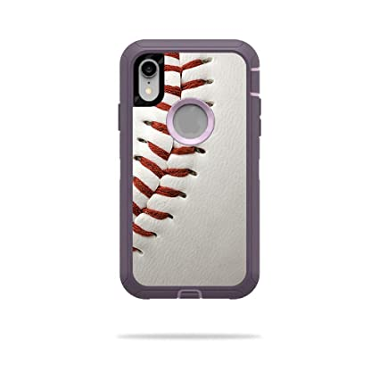 newest collection 3a892 dffff MightySkins Skin for OtterBox Defender iPhone XR Case - Baseball    Protective, Durable, and Unique Vinyl Decal wrap Cover   Easy to Apply,  Remove, and ...