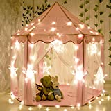 CuteKing Princess Castle Kids Play Tent Children Large Playhouse with LED Star Lights, Pink