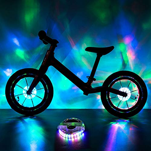 BRIONAC Rechargeable Bike Wheel Lights, LED Bike Spoke Lights, Cool Bicycle Tire Lights, USB Charge, Ultra Bright, Waterproof, 1 Tire Pack, Colorful