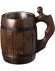 Handmade Beer Mug Oak Wood Stainless Steel Cup Natural Eco-Friendly Wooden Tankard 0.5 liters 17 ounces Barrel Brown …