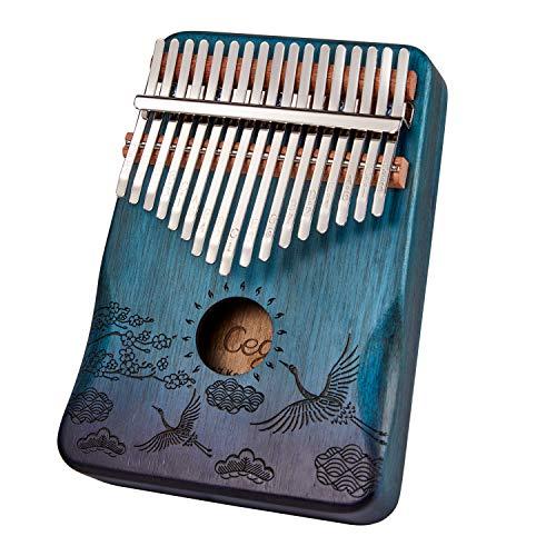 Anager 칼림바17키 Kalimba엄지 피아노 【천연】고품질인 마호가니 (블루)