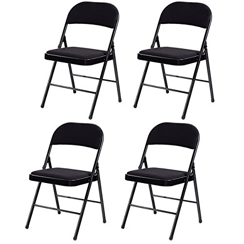 Giantex 4-Pack Folding Chairs with Metal Frame and Fabric Upholstered Padded Seat, Foldable Home Office Party Chair Set (Black)