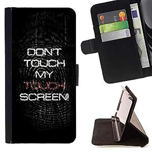 BullDog Case - FOR/Samsung Galaxy S5 V SM-G900 / - / Don't Touch My Screen /- Monedero de cuero de la PU Llevar cubierta de la caja con el ID Credit Card Slots Flip funda de cuer