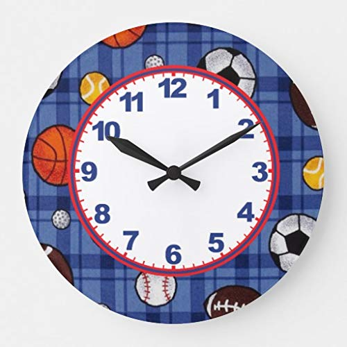 (Boys Sports with Numbers Wall Clocks Large Decorative Silent Non-Ticking Wood Clock for Women 16 Inches)