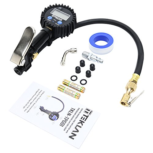 TEKLAN Digital Tire Inflator with Pressure Gauge - 250 PSI, LED Light, Air Chuck, Heavy Duty Hose, Compressor Connect - Inflate Bike, Auto (Motorcycle, Car, SUV, Truck, RV) Tires - Simple, Portable - Light Duty Air Compressor