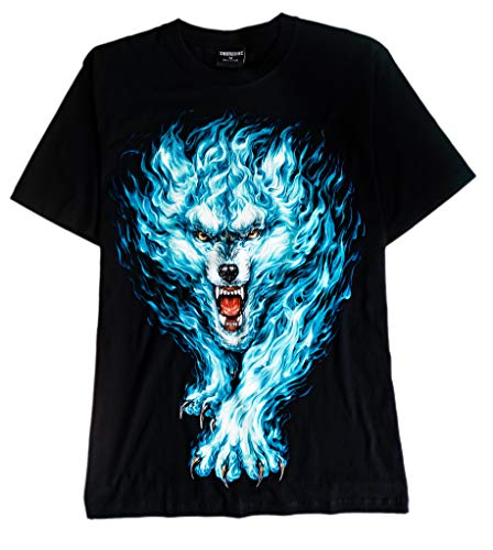 T-Shirt Sale 3D Glow in Dark Animal for Man Unisex (Medium, Wolf Blue Flames)