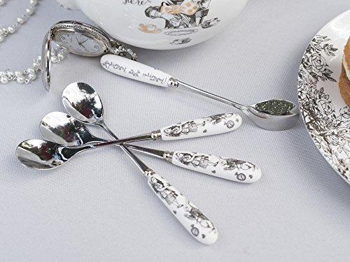 Va Alicia En El Pais De Las Maravillas De Acero Inoxidable Con Asas Decorativas De Porcelana 155 Cm Color Blanco