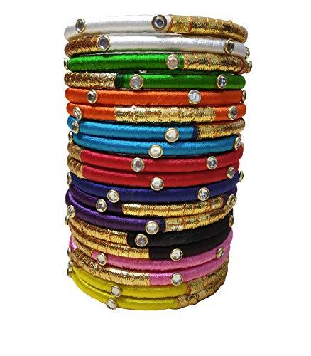 GOELX Festive Offer Designer Elegant 24 Silk Thread Kada Bangles in Handmade Collection
