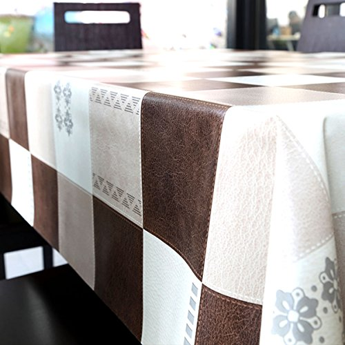 LEEVAN Heavy Weight Vinyl Rectangle Table Cover Wipe Clean PVC Tablecloth Oil-proof/Waterproof Stain-resistant/Mildew-proof - 54 x 78 Inch (Elegant Plaid)