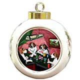 Home of Treeing Walker Coonhounds 4 Dogs Playing Poker Round Ball Christmas Ornament